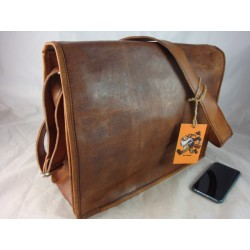 "XF15  - 15"" Deluxe Full flap leather satchel"