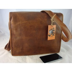 "XF13  - 13"" Deluxe Full flap leather satchel"
