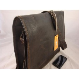 "JBF14     14"" Mens Dark Chocolate Leather Full Flap Satchel"