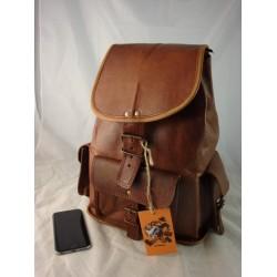 "XR14 - Handmade 14"" Leather Backpack Travel Bag"