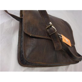 "14"" Black Goat Leather Half Flap Satchel"