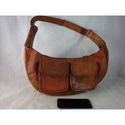 "XMB -  15"" Leather Moon Bag"