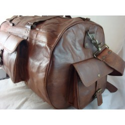 """XD22L - Handmade 22"""" Deluxe Leather Duffel Bag Overnight Bag Large"""