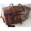 "XDU22 - 22"" Deluxe Leather Travel Bag U Opening"