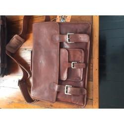 "XO18 -  18"" Leather Satchel Briefcase Laptop Bag"