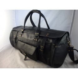 "XBDF24 - Handmade 24"" Deluxe Black Leather Flap Travel Bag Duffel Bag Overnight Bag"