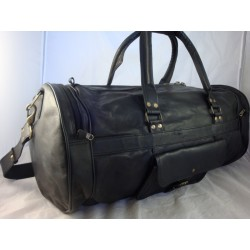 "XBD24 - 24"" Deluxe Black Leather Travel Bag Duffel Bag Overnight Bag"