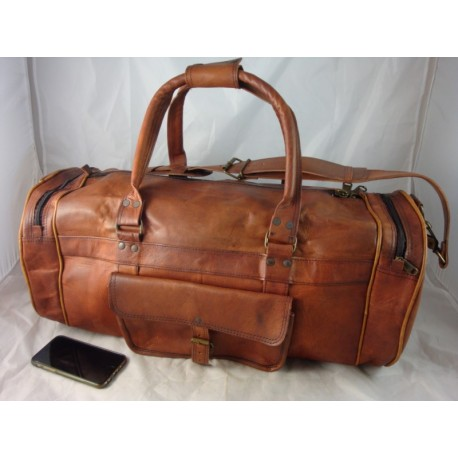 "XD22 - Handmade 22"" Deluxe Leather Duffel Bag Overnight Bag"