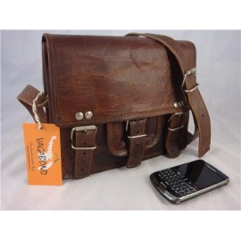 "9"" Goat Leather Satchel Messenger Bag"