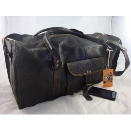 "JBD22 - 22"" Black Goat Leather Travel Bag / Duffel Bag"