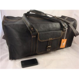 "24"" Black Goat Leather Travel Bag / Duffel Bag"