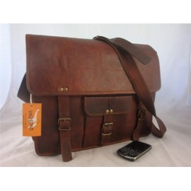 "16"" Goat Leather Satchel with pocket"