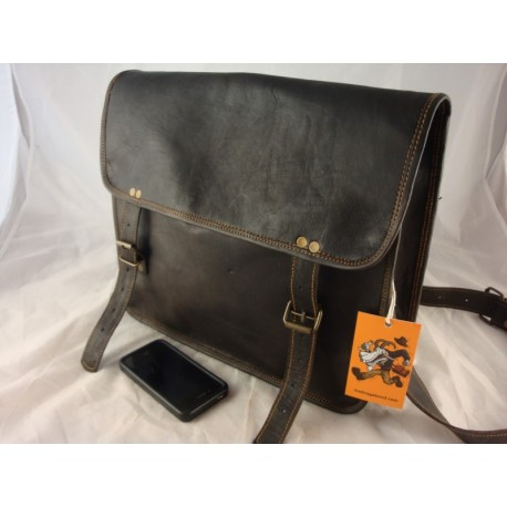 "JBSB14 Mens Rustic 14"" Black Leather Satchel Messenger Bag iPad Bag Cross Body"