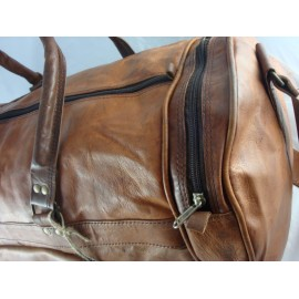 "Mens 24"" Deluxe Leather Travel Bag Duffel Bag Overnight Bag NJD24"