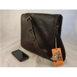 "JBF11   11"" Black Goat Leather Full Flap Satchel"