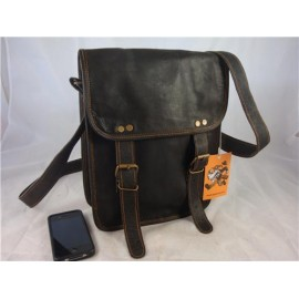 "9"" x 11"" Black Goat Leather Satchel"