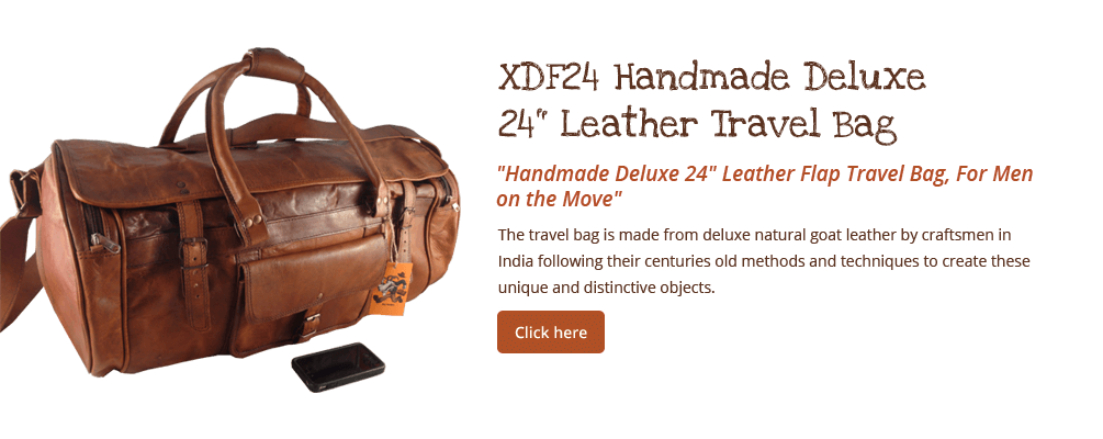 "Handmade 24"" Deluxe Leather Flap Travel Bag"