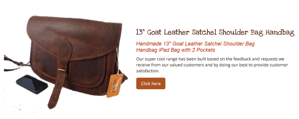 "Handmade 13"" Goat Leather Satchel Shoulder Bag  Handbag iPad Bag with 2 Pockets"
