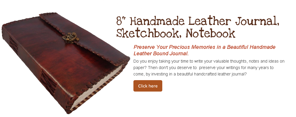 "8"" Handmade Leather Journal, Sketchbook, Notebook"