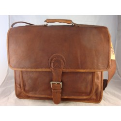 "XBP18 -  18"" Leather Satchel Briefcase Laptop Bag"