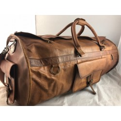 "XD24 - 24"" Deluxe Leather Travel Bag Duffel Bag Overnight Bag"