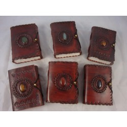 """5"""" Handmade Leather Journal, Paper from Recycled Cotton"""